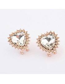 Human White Heart Shape Design Alloy Stud Earrings