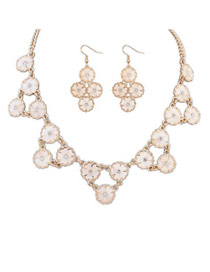 Exaggerated White Pearls&diamond Decorated Multi-layer Simple Jewelry Sets