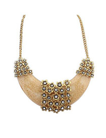 Locket Beige Crescent Shape Pendant Design Alloy Bib Necklaces