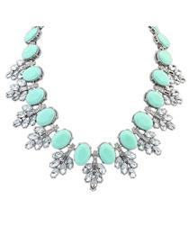 Western Light Blue Oval Shape Gemstone Decorated Design Alloy Fashion Necklaces