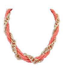 Guardian Peach Red Weave Beads And Metal Twist Design Alloy Chains