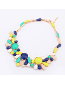 Noble Dark Blue Colorful Gemstone Fake Collar Design Alloy Bib Necklaces