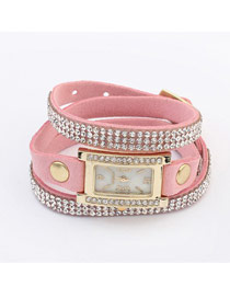 Friendship Pink Diamond Decorated Multilayer Simple Design PU Leather Ladies Watches
