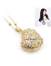 Glam Gold Color Hollow Out  Heart Shape Alloy Beaded Necklaces