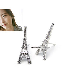 Lovable Silver Color Hollow  Eiffel Tower Alloy Stud Earrings