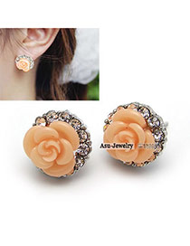 Plussize Orange Flower Design  Stud Earrings