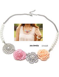Bodybuildi Silver Color Rose Garden Pearl Alloy Bib Necklaces