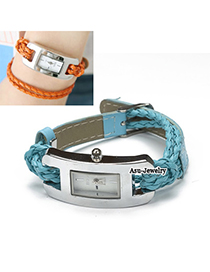 Circle Green Hand-Woven Leather Strap Alloy Ladies Watches