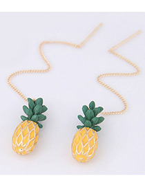Fashion Yellow Pineapple Shape Decorated Pure Color Earrings