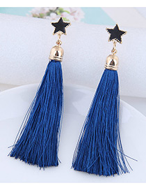 Fashion Sapphire Blue Tassel Decorated Star Shape Pure Color Earrings