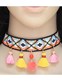 Fashion Yellow Tassel&ball Decorated Color Matching Pom Choker