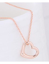 Fashion Gold Color Heart Shape Decorated Pure Color Necklace