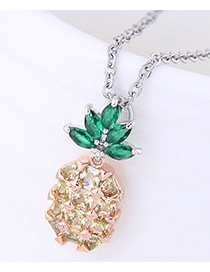Fashion Yellow+green Diamond Decorated Pineapple Shape Pure Color Necklace