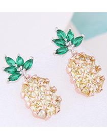 Fashion Yellow+green Diamond Decorated Pineapple Shape Pure Color Earrings