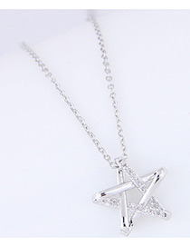 Fashion Silver Color Diamond Decorated Star Shape Pure Color Necklace