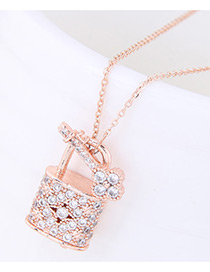 Fashion Gold Color Diamond Decorated Lock Shape Pure Color Necklace