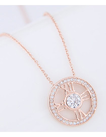 Fashion Gold Color Diamond Decorated Letter Pure Color Necklace
