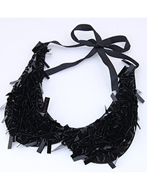 Exaggerate Black Collar Shape Decorated Necklace