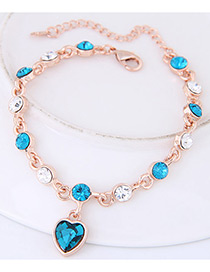 Fashion Blue Heart Shape Decorated Bracelet