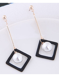 Fahsion White+black Pearl Decorated Square Shape Pure Color Earrings