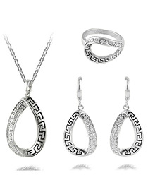 Fashion Silver Color Water Drop Shape Decorated Pure Color Jewelry Sets