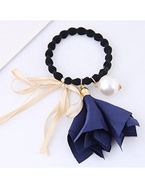 Lovely Dark Blue Morning Glory&bowknot Decorated Hair Band