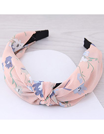 Lovely Light Pink Flower Pattern Decorated Cross Design Hair Hoop