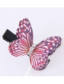 Fashion Red Butterfly Shape Decorated Simple Hair Pin