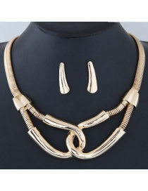 Fashion Gold Color Buckle Shape Decorated Simple Jewelry Set