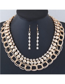 Fashion Gold Color Diamond Decorated Simple Jewelry Set
