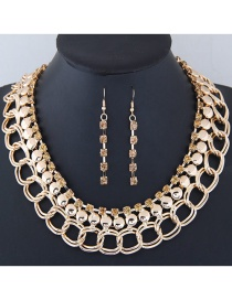 Fashion Gold Color+brown Diamond Decorated Simple Jewelry Set