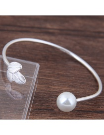 Fashion Silver Color Pearl Shape Decorated Opening Bracelet