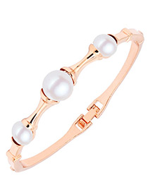 Fashion Gold Color Pearl Decorated Simple Bracelet