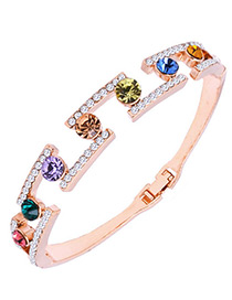 Fashion Multi-color Diamond Decorated Simple Bracelet