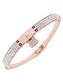 Fashion Gold Color Lock Shape Decorated Simple Bracelet