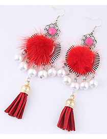 Fashion Red Pom Ball&pearl Decorated Simple Earrings