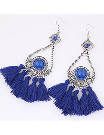 Fashion Sapphire Blue Tassel Decorated Simple Earrings