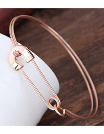 Fashion Rose Gold Pure Color Decorated Double Layer Bracelet