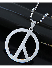Trendy Silver Color Peace Sign Pendant Decorated Simple Necklace