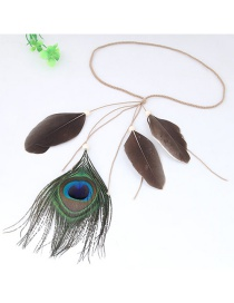 Trendy Green+dark Gray Feathers Decorated Color Matching Hair Band
