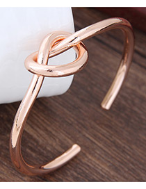 Elegant Rose Gold Cross Shape Decorated Pure Color Bracelet
