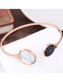 Elegant Rose Gold Round Shape Decorated Opening Bracelet