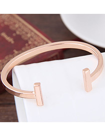 Elegant Rose Gold Pure Color Decorated Opening Brecelet