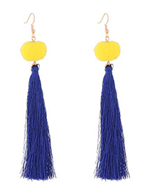 Bohemia Sapphire Blue Fuzzy Ball Decorated Pom Earrings