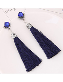 Bohemia Blue Tassel Decorated Earrings