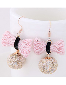 Elegant Pink+beige Bowknot Shape Decorated Earrings