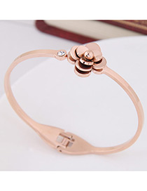 Fashion Rose Gold Flower Shape Decorated Bracelet