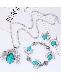 Fashion Blue Beetle Shape Decorated Jewelry Setgs