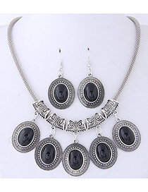 Fashion Black Oval Shape Gemstone Decorated Jewelry Sets