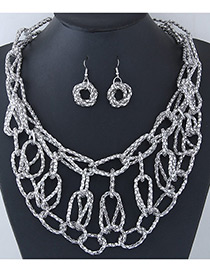 Trendy Silver Color Pure Color Decorated Cross Design Jewelry Sets
